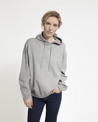 June Knitted Cotton/Cashmere Hoodie, Light Warm Gray
