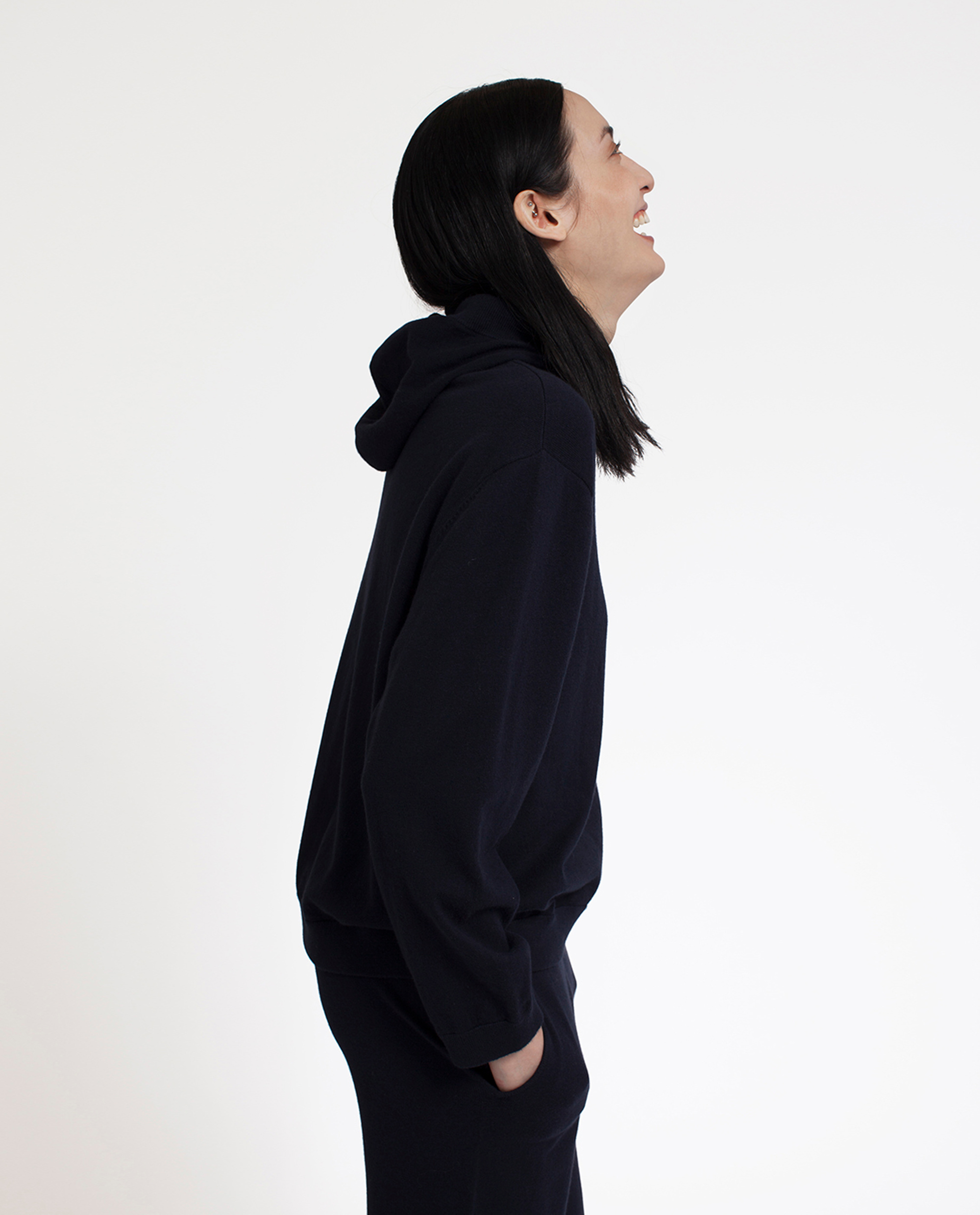 June Knitted Cotton/Cashmere Hoodie, Deep Marine Blue