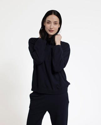 June Knitted Hoodie, Deep Marine Blue