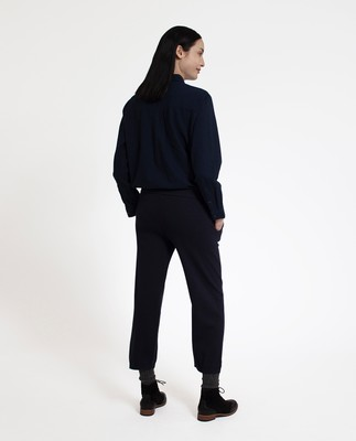 Des Knitted Cotton/Cashmere Track Pants, Deep Marine Blue