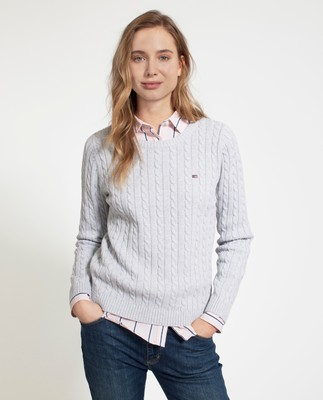 Felizia Cable Sweater, Light Warm Gray