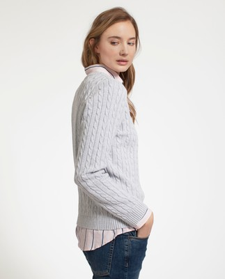 Felizia Cable Sweater, Light Warm Gray