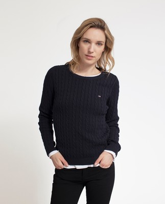 Felizia Cable Sweater, Deep Marine Blue