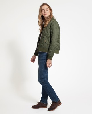 Greta Quilted Jacket, Bottle Green