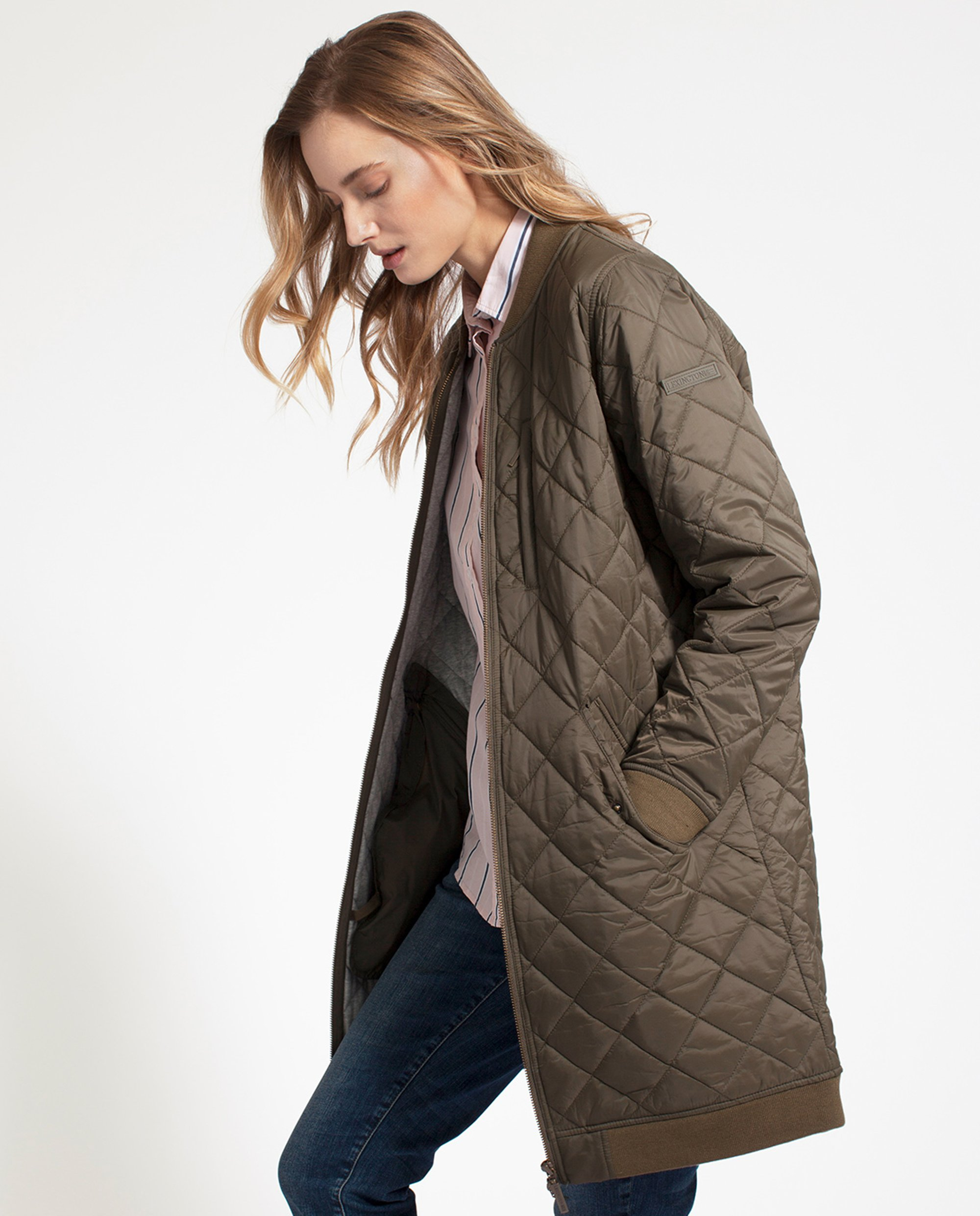 Liv Quilted Long Jacket, Hunter Green
