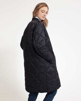 Livia Quilted Coat, Caviar Black