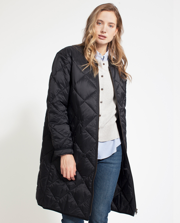 Livia Quilted Coat, Caviar Black