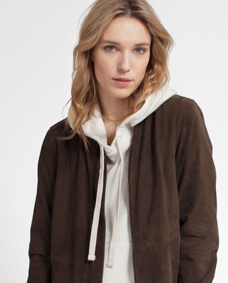 Nova Suede Jacket, Dark Brown