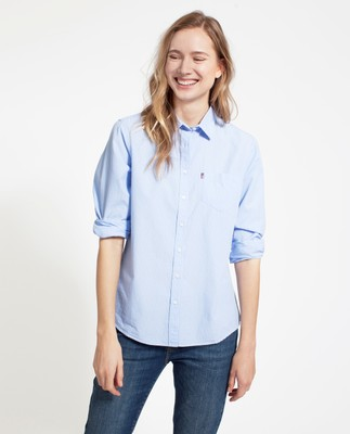 Emily Poplin Shirt, Light Blue/White