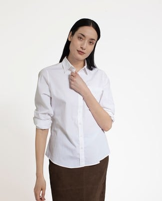 Emily Poplin Shirt, Bright White