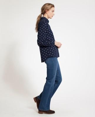 Emily Poplin Shirt, Blue Flower Print