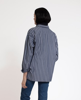 Edith Poplin Shirt, Dark Blue/White