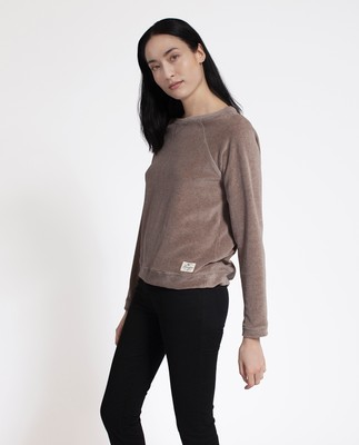 Martha Velour Sweater, Beige