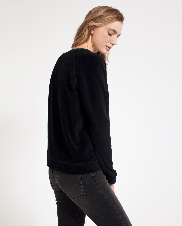 Martha Velour Sweater, Caviar Black