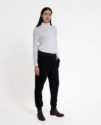 Minnie Velour Track Pants, Caviar Black