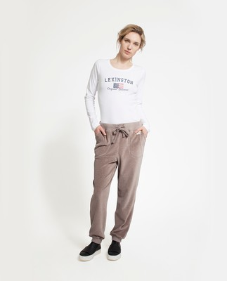 Minnie Velour Track Pants, Beige