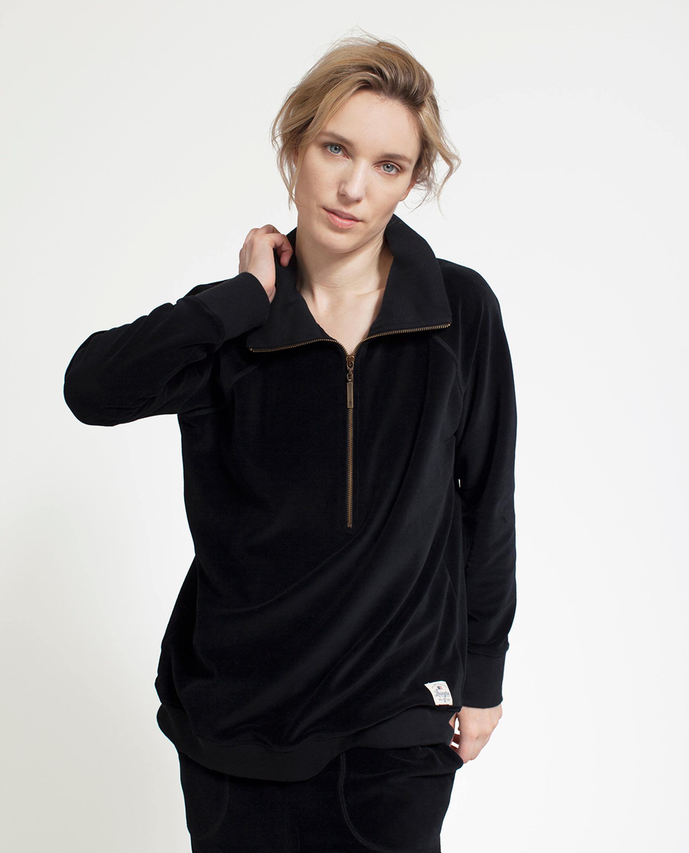 Vanna Velour Zip Sweater, Caviar Black