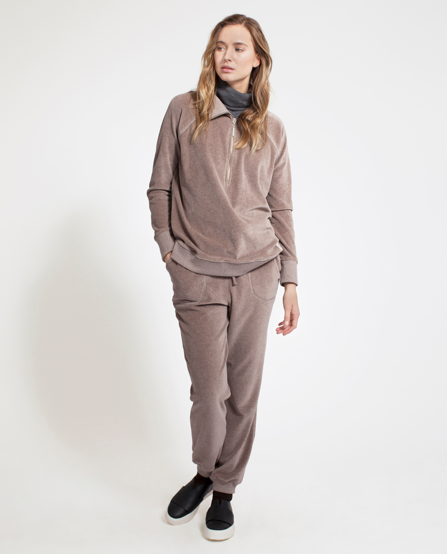 Vanna Velour Zip Sweater, Beige