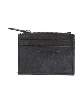 Cove Leather Card Holder, Caviar Black