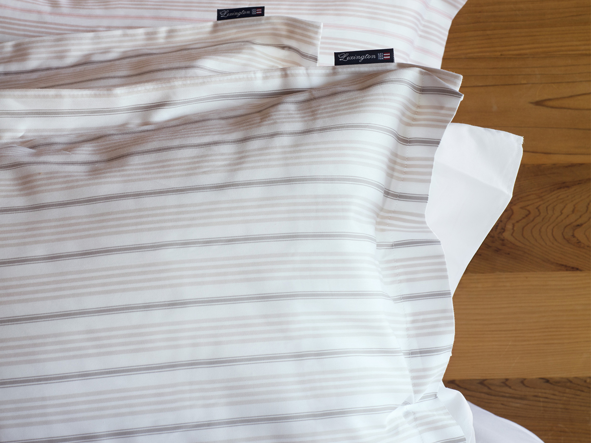 Beige Striped Sateen Pillowcase