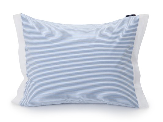 Blue/White Poplin Striped Pillowcase