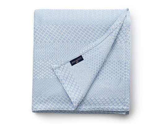 Structured Cotton Bedspread, Light Blue