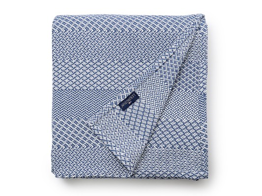 Structured Cotton Bedspread, Blue