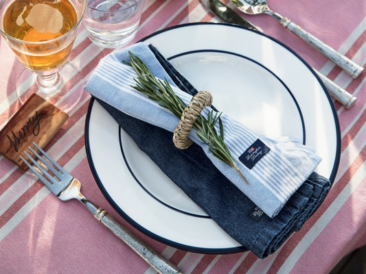 Striped Napkin, Blue/White