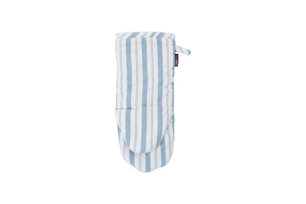 Striped Mitten, White/Blue