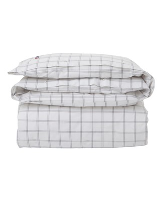Checked Oxford Duvet, White/Gray