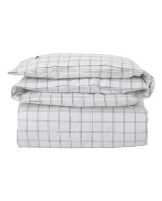 Checked Oxford Duvet, White/Gray