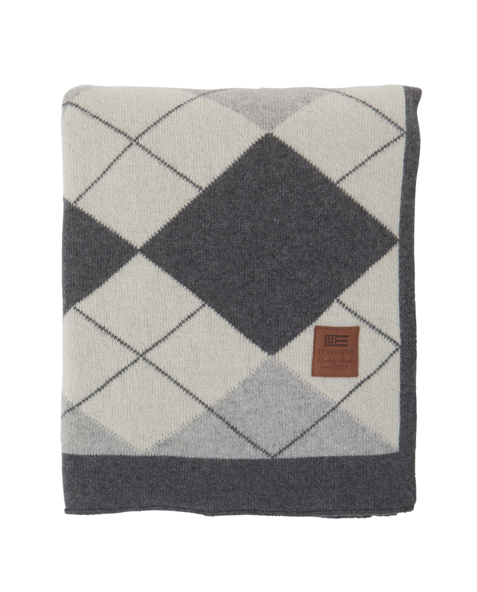 Holiday Knitted Throw, Gray/White