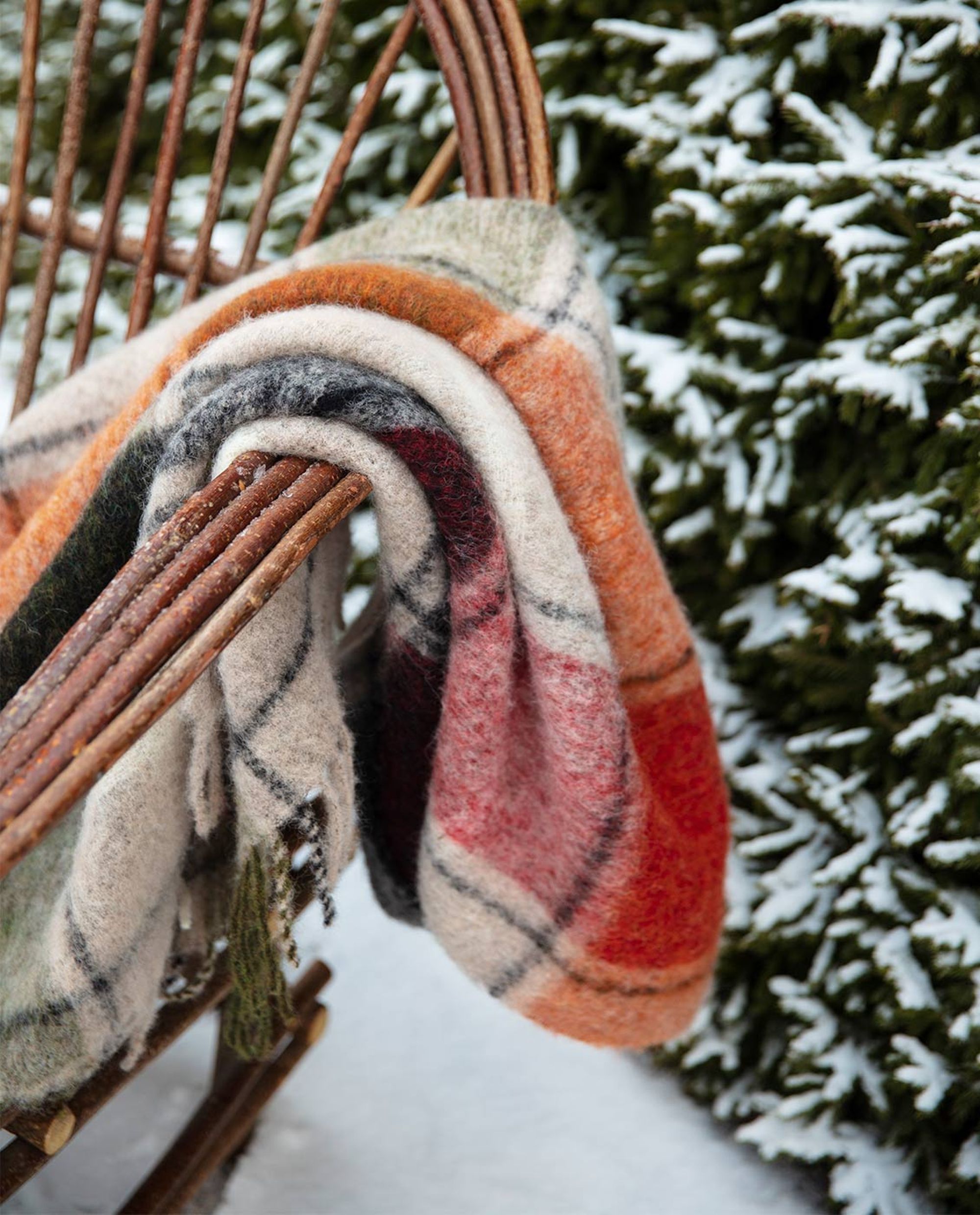 Holiday Mohair Throw, Red Multi