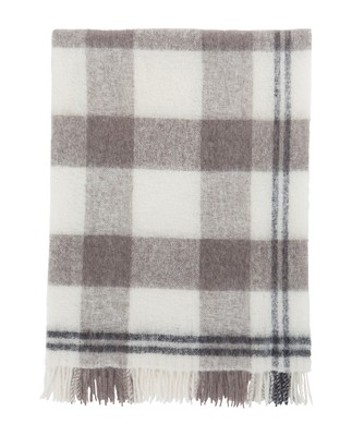Holiday Mohair Throw, White/Gray