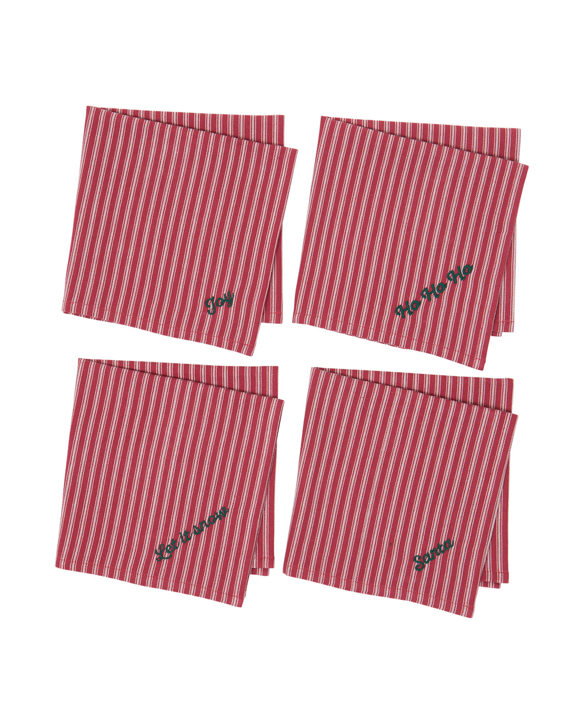 Holiday Cocktail Napkins (Set of 4), White/Red