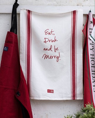 Embroidery Kitchen Towel, White/Red