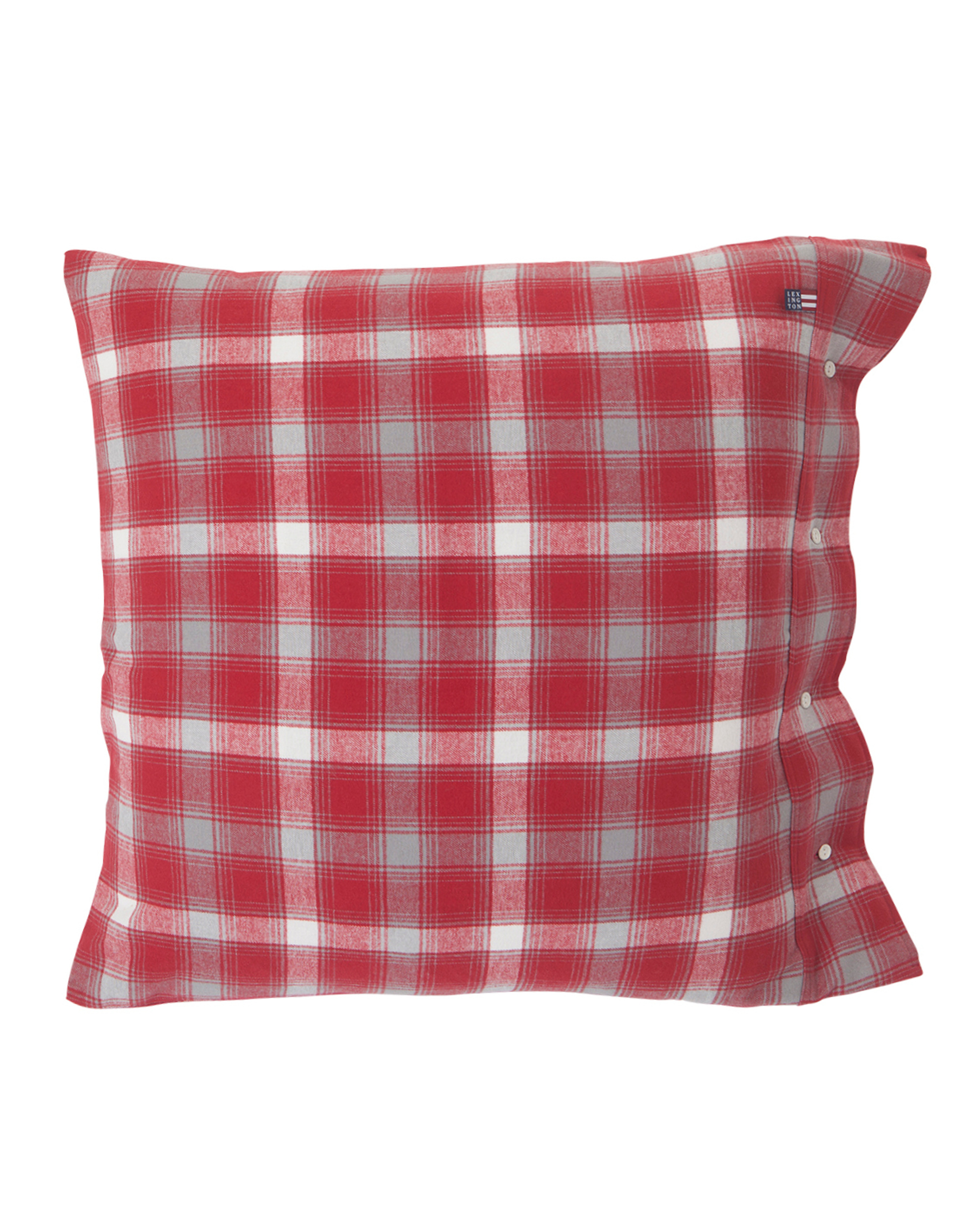 Checked Flannel Pillowcase, Red/Gray
