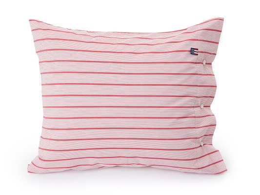 Red Striped Poplin Pillowcase