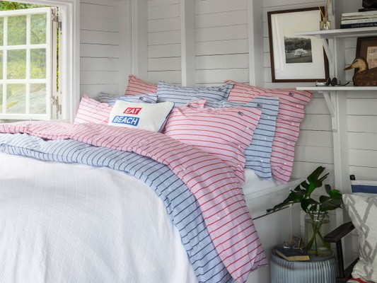 Red Striped Poplin Duvet