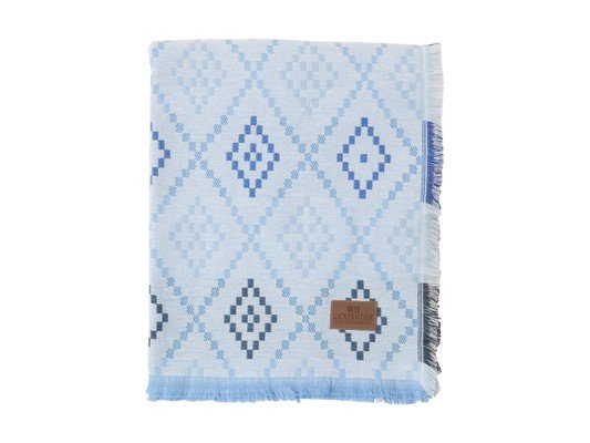 Brushed Cotton Throw, Blue/White