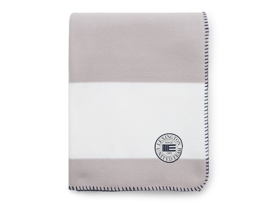 Block Striped Fleece Throw, White/Gray