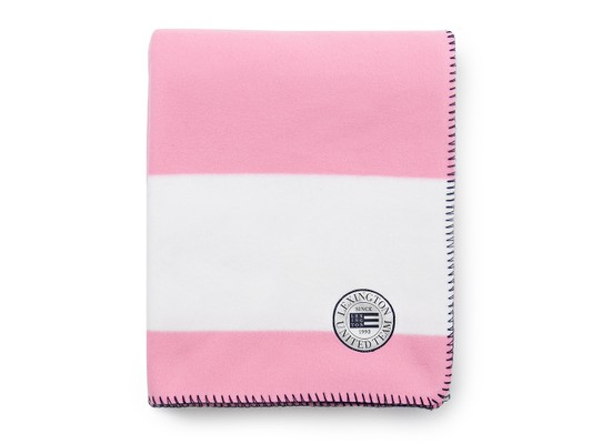 Block Striped Fleece Throw, White/Pink
