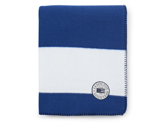Block Striped Fleece Throw, White/Blue