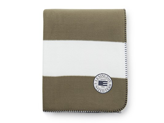 Block Striped Fleece Throw, White/Green