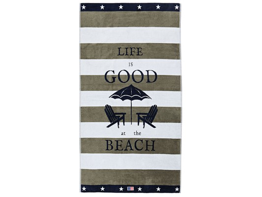 Graphic Velour Beach Towel, Green/White