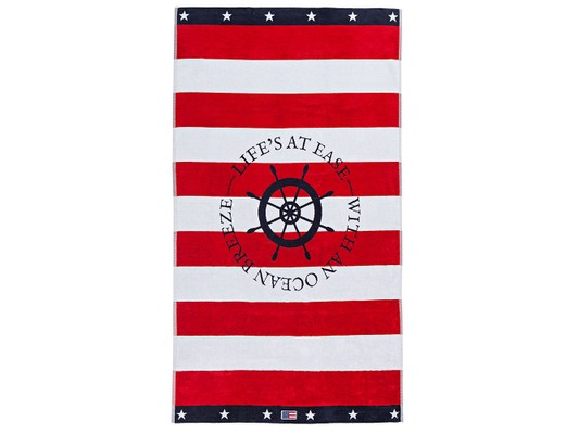 Graphic Velour Beach Towel, Red/White