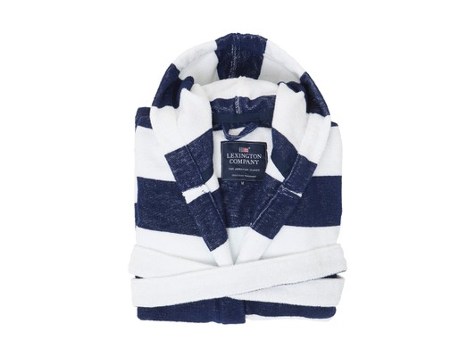 Hood Terry Robe, Blue/White