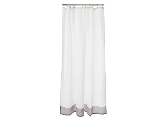 Border Shower Curtain, White/Gray