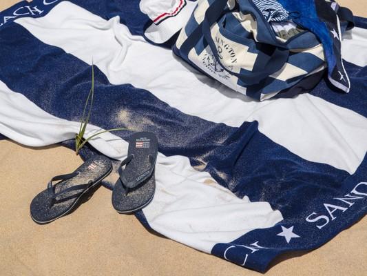 Family Beach Towel, Blue/White