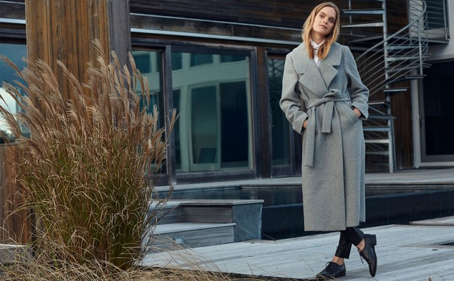 Mila Long Coat, Heather Gray